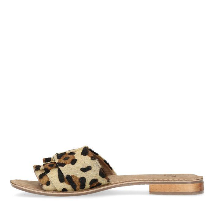 Claquettes en cuir avec imprimé léopard