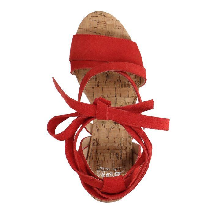 Sandales en daim à talon - rouge