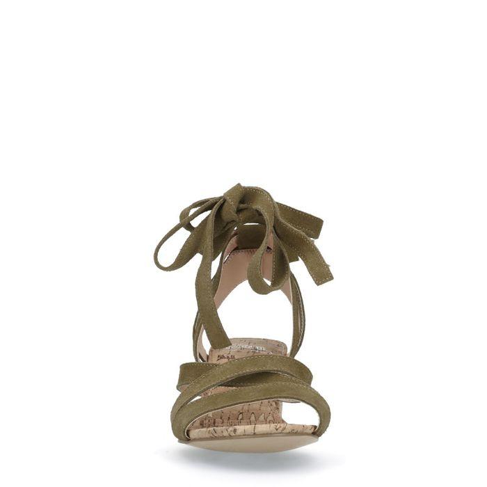 Sandales à talon en daim - vert foncé
