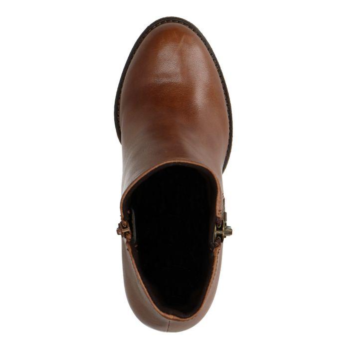 Cognacfarbene Leder-Stiefeletten mit Absatz