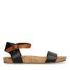 Schwarze Sandalen mit cognacfarbenem Riemchen