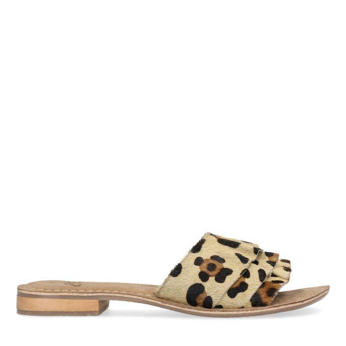 Leder-Sandalen mit Leopardenmuster