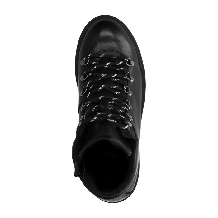 Schwarze Hiker Boots aus Leder