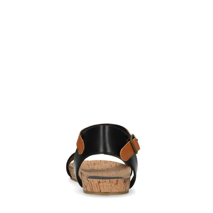 Schwarze Ledersandalen mit cognacfarbenem Riemchen