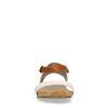 Weiße Sandalen mit cognacfarbenem Riemchen
