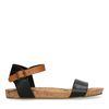 Zwarte leren sandalen met cognac bandje