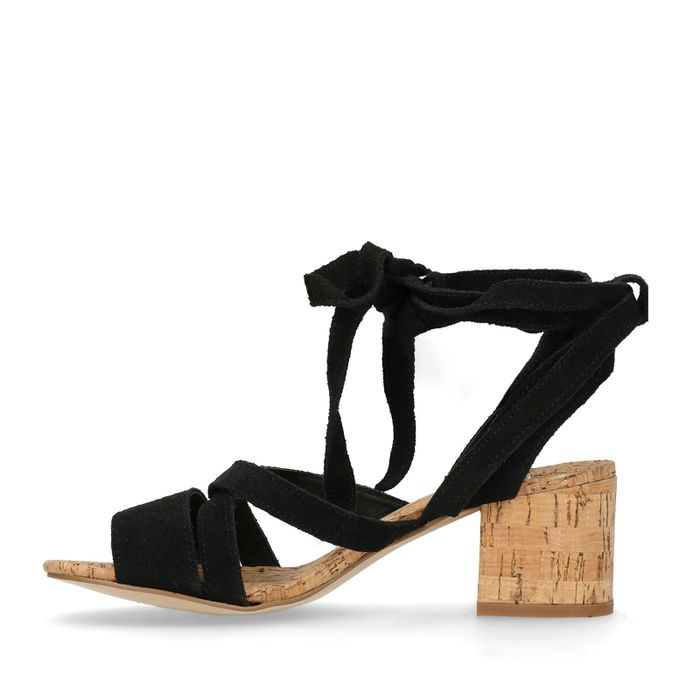 Schwarze Veloursleder-Sandaletten
