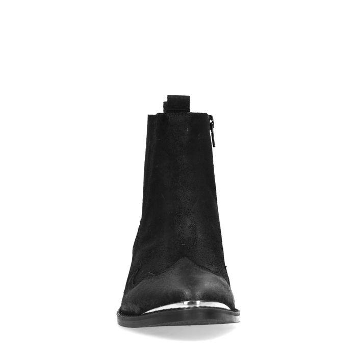 Schwarze Veloursleder-Stiefeletten mit Metallic-Details