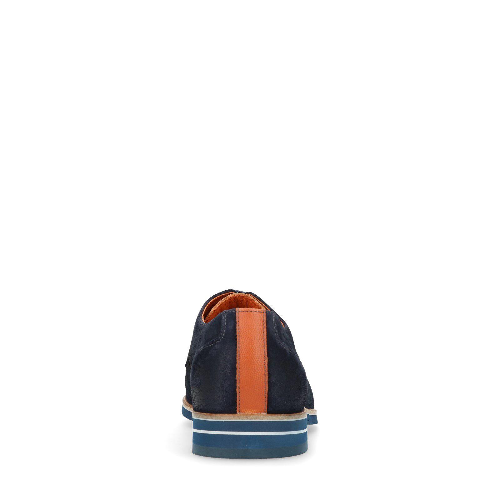 Van Lier Blaue Schnürschuhe aus Veloursleder