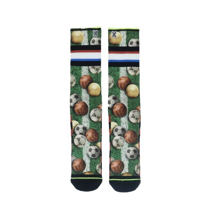 XPOOS grüne Socken mit Fußball-Print